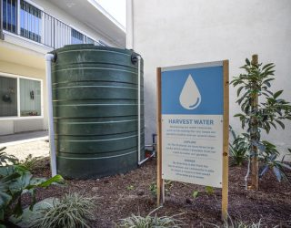 SANTA ANA, CA - FEBRUARY 01: The Orchard feature large barrels to harvest rain water in Santa Ana on Thursday, Feb 1, 2018. The complex is a former run-down motel in Santa Ana that was converted into a permanent supportive housing complex for 71 chronically homeless people. The $18 million project is Santa Ana?ïs first permanent supportive housing project, backed by housing vouchers from the city totaling nearly $1 million annually. (Photo by Jeff Gritchen/Digital First Media/Orange County Register via Getty Images)
